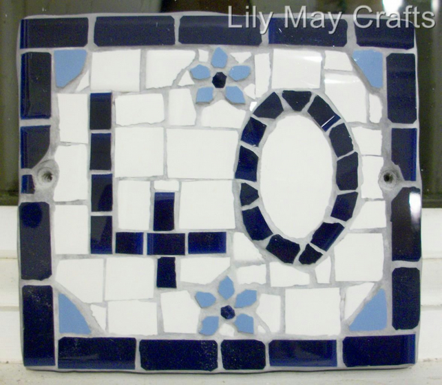 Custom made Mosaic House Door Number,sign,plaque - 2 digits.