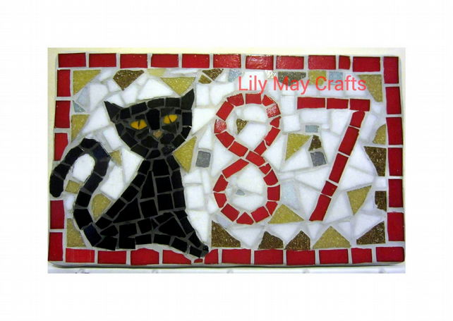 Custom Made Mosaic Cat House Door Number,plaque,sign (2 digits)