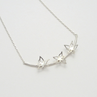 Blossom Sterling Silver Curved Necklace with 3 Flowers