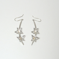 Sterling Silver Blossom Long Curve Earrings