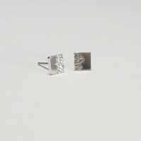 Eclipse Extra Small Square Stud Earrings, Sterling Silver