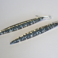 Blackwave Long Earrings in Oxidised Sterling Silver
