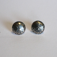 Blackwave Medium Round Domed Studs in Oxidised Sterling Silver