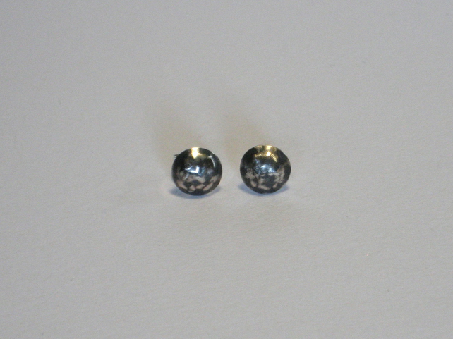 Blackwave Small Round Domed Studs in Oxidised Sterling Silver