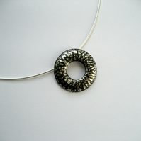 "Blackwave Round Doughnut Pendant on 16"" Cable Wire, Oxidised Sterling Silver"