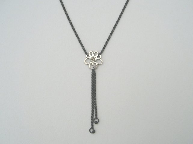 "Primrose Silver and Oxidised Sterling Silver Pendant on 16"" Chain"