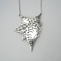 "Autumn Leaf Pendant in Sterling Silver on a 16"" Curb Chain"