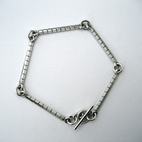 Sterling Silver Linked Bar Striped Bracelet - One Off Design