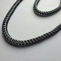 Half Persian Woven Chain Mail Necklace, Anodised Aluminium 18""