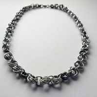 Mixed Double Flower Woven Chain Mail Necklace, Anodised Aluminium 17""