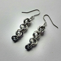 Mixed Flower Quad Woven Chain Mail Earrings, Anodised Aluminium