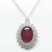 Plum And Silver Themed Pendant Necklace, Sterling Silver Chain, Hand-made