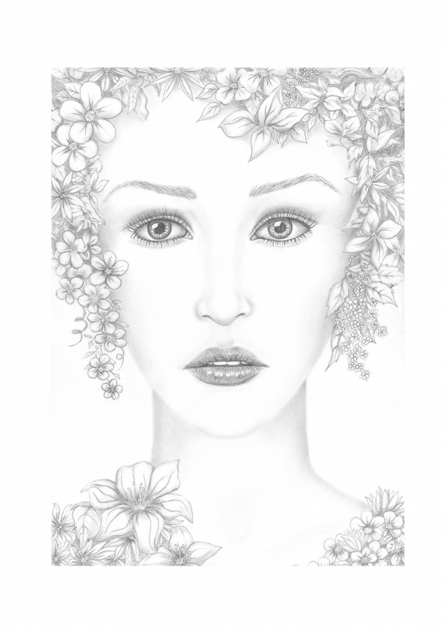 Flora, The Goddess Of Flowers, Signed Print, Portrait From Tricia Cole Jewellery