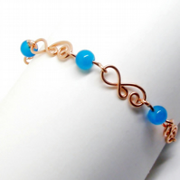 Copper And Blue Bead Wire Link Bracelet Weddings, Occasional