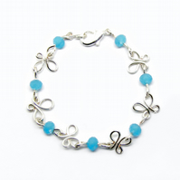 Silver Butterfly Wire Wrap Bracelet Anklet Blue Beads