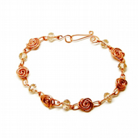 Roses And Crystals Bracelet Copper Wire Wrap Hand Made Jewellery