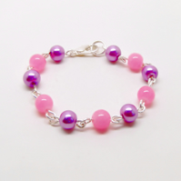 Childrens Wire Work And Bead Bracelet Pink And Mauve