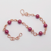 Copper And Pink Bead Wire Link Bracelet Weddings, Mothers Day