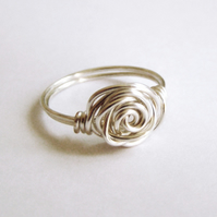 Wirework Rose Ring, Silver Plated, Handmade Jewellery
