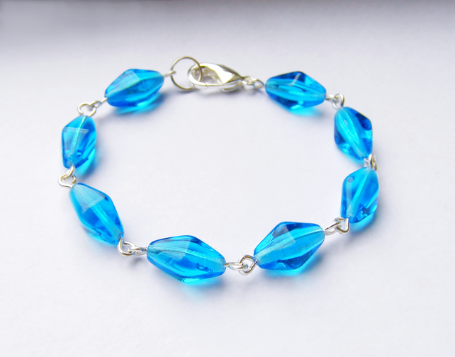Bracelet Blue Glass Bead Wirework Bracelet, Mothers Day Gift Jewellery