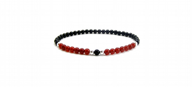 Mens or Womens Beaded Bracelet, 925 Sterling Silver, Carnelian, Black Onyx