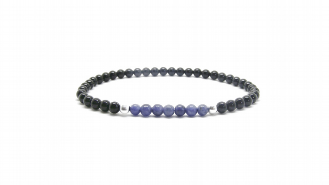 Mens Beaded Bracelet, 925 Solid Sterling Silver, Black Onyx And Sodalite, Ladies