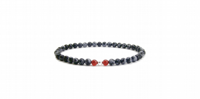 Mens, Ladies Beaded Bracelet, 925 Sterling Silver, Carnelian, Snowflake Obsidian