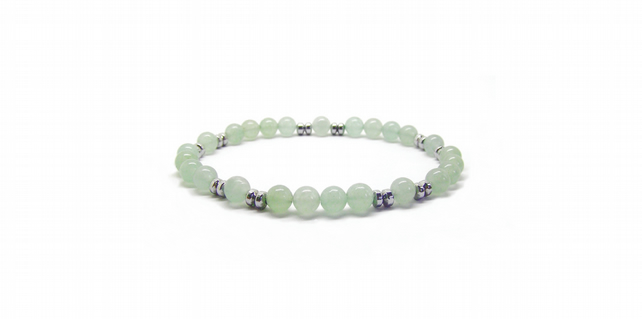 Mens Or Womens Beaded Bracelet, Natural Aventurine And Hematite Gemstone,Unisex