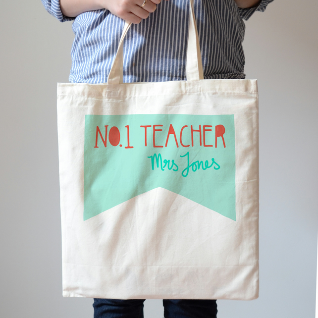 Personalised Teacher Tote Bag, Number One Teacher Canvas Shopping Bag