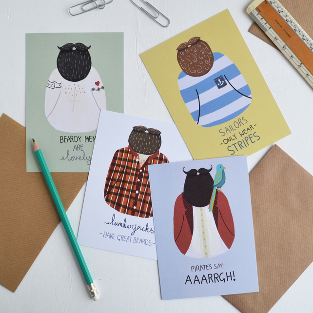 Stupendous Set Of Four Beard Postcards Bearded Man A6 Min Folksy Natural Hairstyles Runnerswayorg