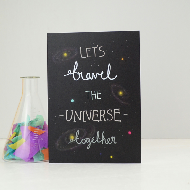 Space Valentines Card, Lets Travel the Universe Romantic Greetings Card
