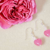Rose Quartz and Murano Glass Heart Earrings