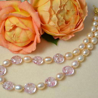 Peach Pearl & Murano Glass Necklace