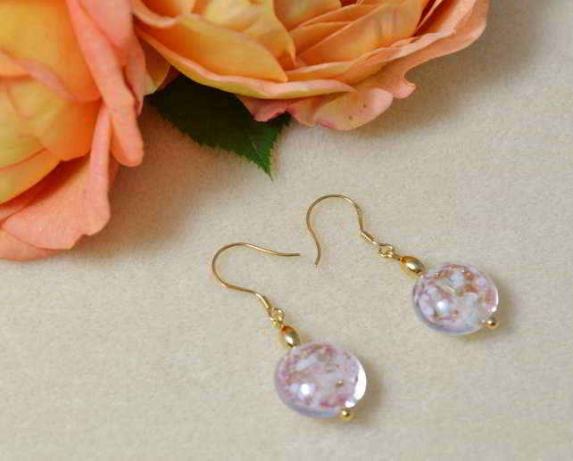 Rose & Ginger Blush Murano Glass Earrings.