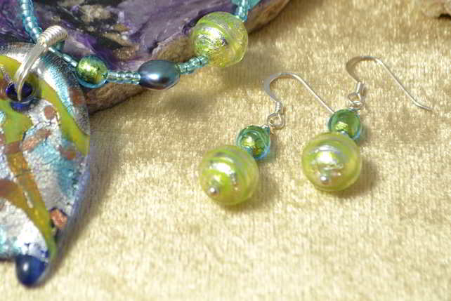 Peppermint Swirl Murano Glass Earrings