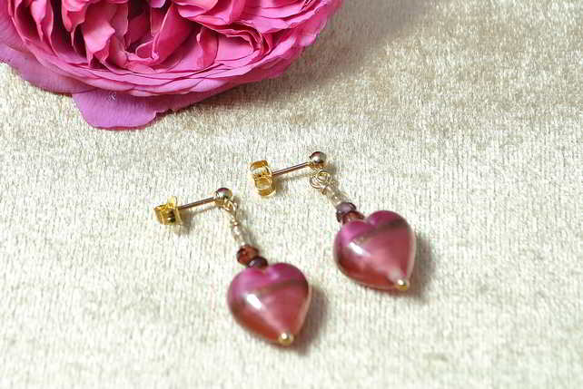 Garnet & Murano Glass Heart Earrings