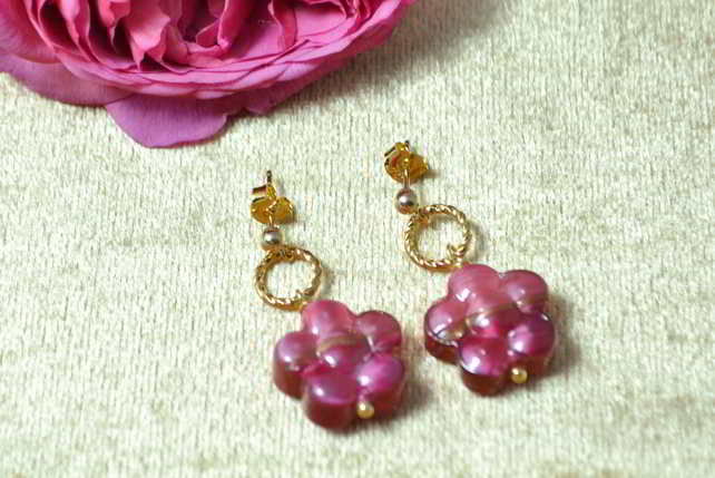 Rose Ruby Murano Glass Flower Earrings