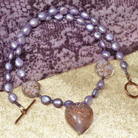 Lilac Pearl & Murano Heart Necklace