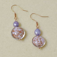 Lilac Pearl and Murano Glass Earrings