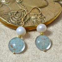 Ivory Pearl & Turquoise Murano Glass Earrings