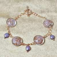 Lilac Pearl and Sommerso Bead Bracelet