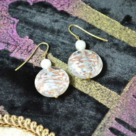 Ivory Pearl and Gold Swirl Murano Glass Earrings