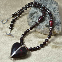 Garnet & Deepest Ruby Murano Heart Necklace