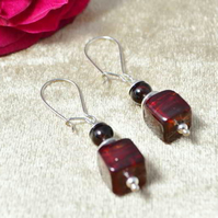 Garnet & Deepest Ruby Murano Glass Cube Earrings