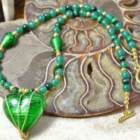 Emerald Murano Glass Heart & Green Tiger's Eye Necklace