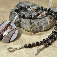 Onyx, Haematite & Murano Glass Necklace