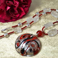 Quartz & Murano Glass Necklace & Earring Set