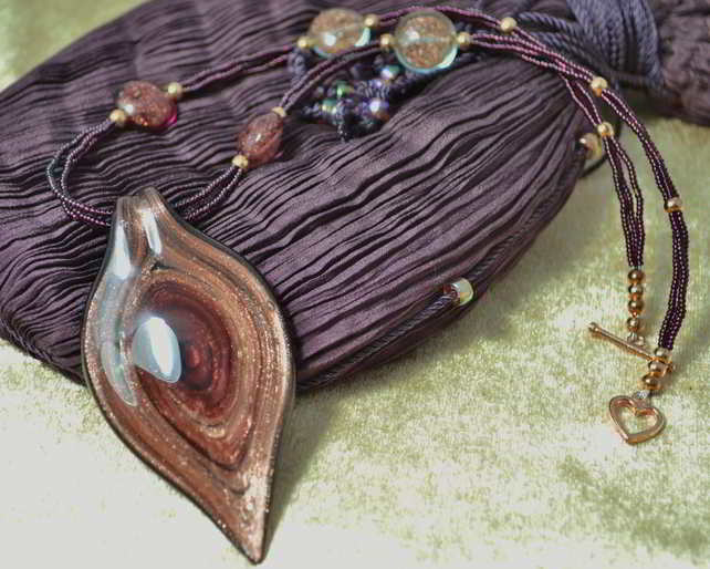 Dusky Pink & Bronze Murano Glass Leaf Necklace