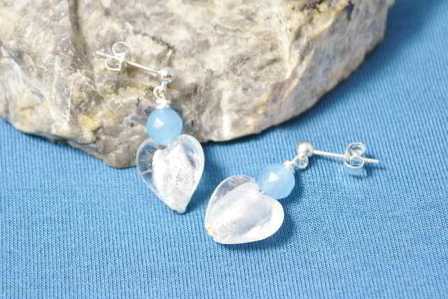 Agate & Murano Heart Earrings