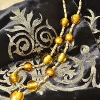 Lemon Quartz & Gold Murano Glass Necklace